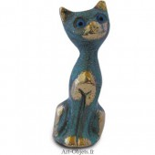 Chat  Assis - Bronze Bleu