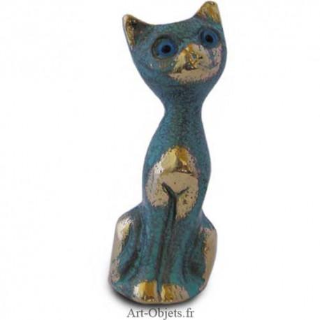 Chat  Assis - Bronze Bleu