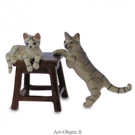 Figurine Miniature - 2 Chats sur tabouret - Porcelaine