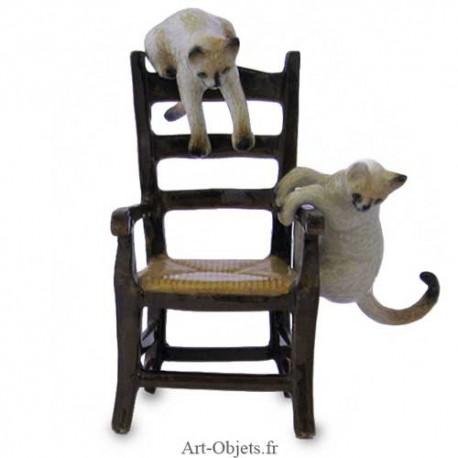 Figurine Miniature - 2 Chats sur fauteuil - Porcelaine