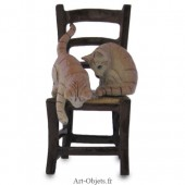 Figurine Miniature - 2 Chats sur chaise - Porcelaine