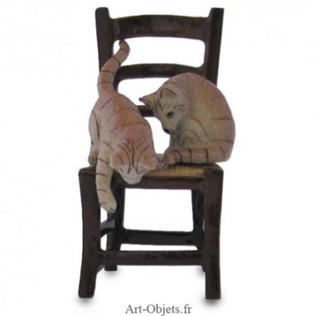 Figurine Miniature - 2 Chats sur chaise - Porcelaine
