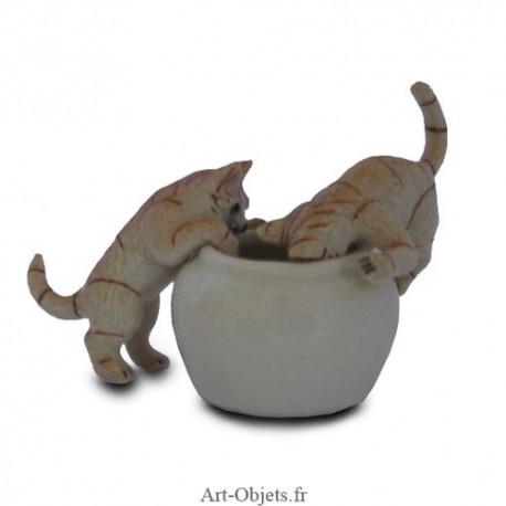 Figurine Miniature - 2 Chats avec jarre - Porcelaine