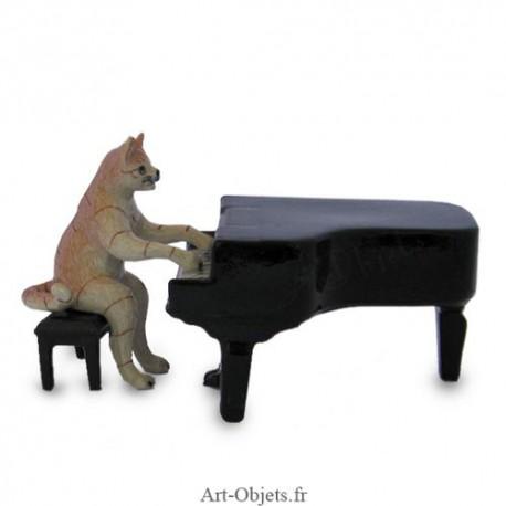 Figurine Miniature Chat jouant du piano - Porcelaine