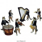 Figurine Miniature - 6 Chats musiciens - Porcelaine
