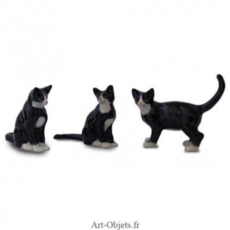 Figurine Miniature - 3 Chats Noirs - Porcelaine
