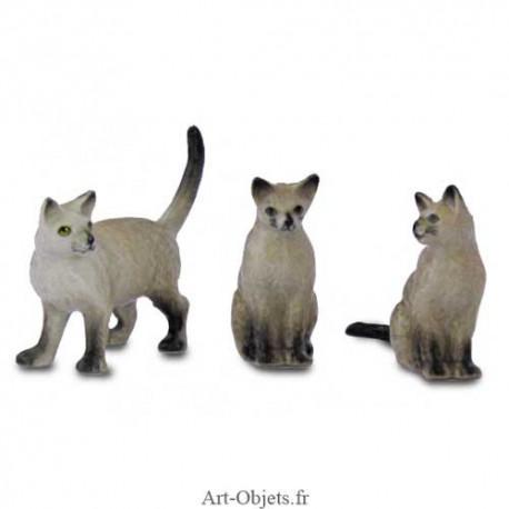 Figurine Miniature - 3 Chats Blancs - Porcelaine