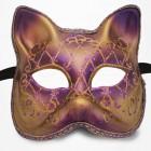 Masque de Venise - Masque Chat Satin Mauve et doré