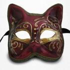 Masque de Venise - Masque Chat Commedia Dell'Arte - Rouge et Doré