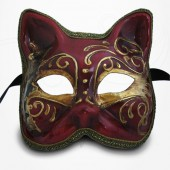Masque de Venise - Masque Chat Commedia Dell'Arte - Rouge et Doré