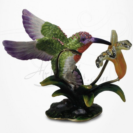 Boîte à secrets Oiseau Colibri - Métal émaillé avec Strass