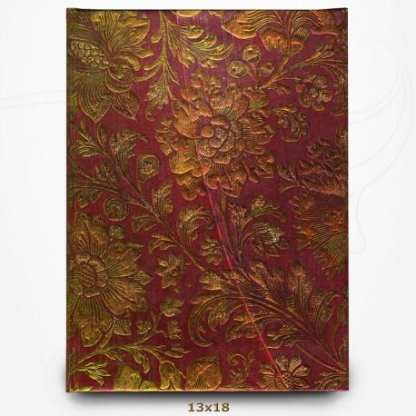 Carnet Fleur Fuchsia Doré - Papier Brocart