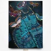 Carnet - Chats Bleus et Papillons - Félins Fantastiques