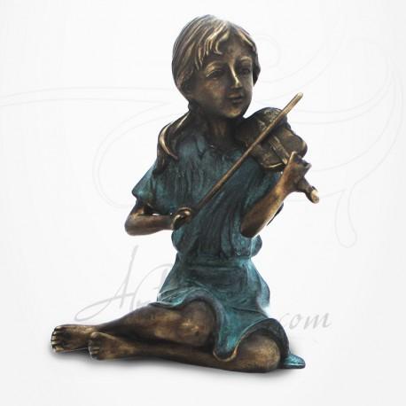 Statue Jeune Fille assise jouant du Violon