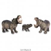 Figurine Miniature - 3 Hippopotames - Porcelaine