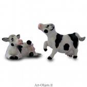 Figurine Miniature - 2 Vaches - Porcelaine