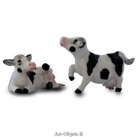 Figurine Miniature - 2 Vaches - Porcelaine