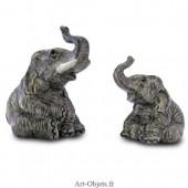 Figurine Miniature - 2 Eléphants assis - Porcelaine