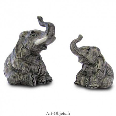 Figurine Miniature - 2 Eléphants assis - Porcelaine