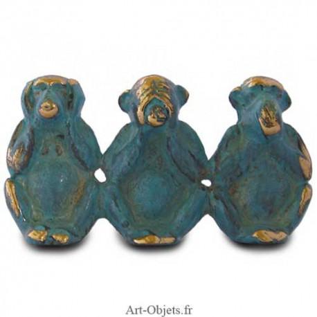 3 Singes de la sagesse - Bronze Bleu
