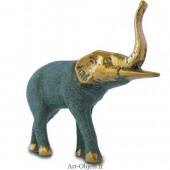 Eléphant Trompe levée- Bronze Bleu