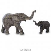 Figurine Miniature - 2 Eléphants  marchant - Porcelaine