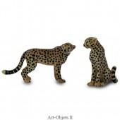 Figurine Miniature - 2 Guépards - Porcelaine
