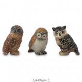 Figurine Miniature - 3 Chouettes - Porcelaine