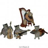 Figurine Miniature - 4 Chouettes musiciennes - Porcelaine