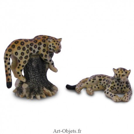 Figurine Miniature - 2 Jaguars - Porcelaine