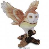 Boîte à secrets Chouette ailes déployées - Métal émaillé avec Strass