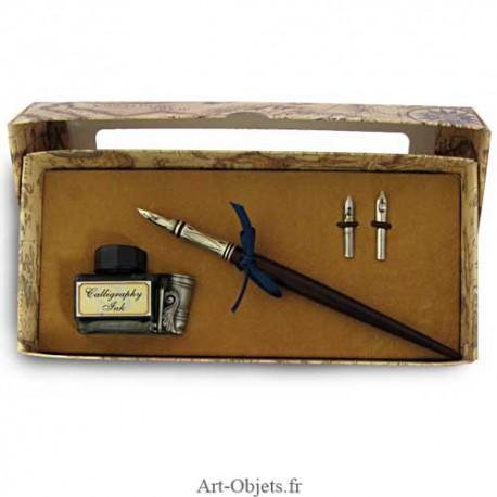 Calligraphie - Set écriture avec flacon support porte plume