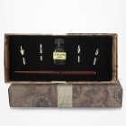 Calligraphie - Set écriture manche bois avec 4 plumes métal