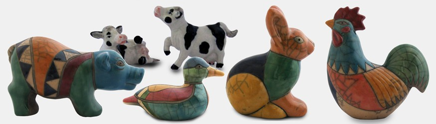 Figurines Canards, Coqs, Lapins, Cochons, Vaches...